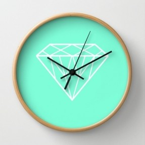 tiffany-mint-diamond-design-wall-clock